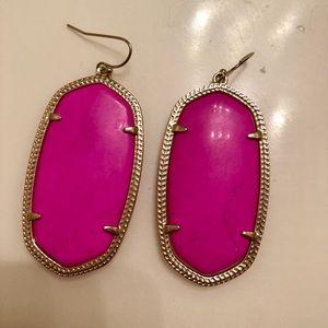 Jewelry - Gold metal & pink stone Kendra Scott earrings